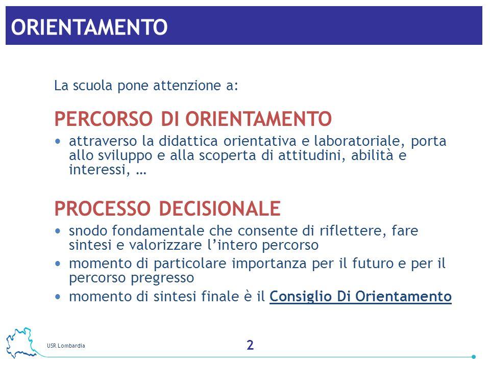 USR Lombardia 3 ORIENTAMENTO La scuola pone attenzione a: PERCORSO DI ORIENTAMENTO attraverso la didattica orientativa e laboratoriale, porta allo svi
