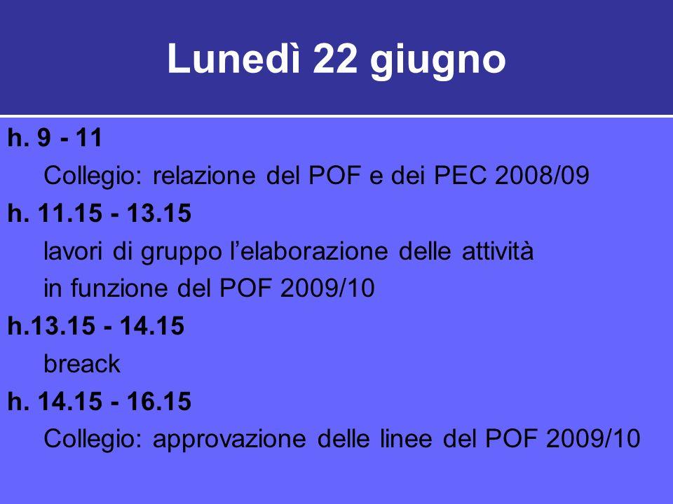 Lunedì 22 giugno h.9 - 11 Collegio: relazione del POF e dei PEC 2008/09 h.