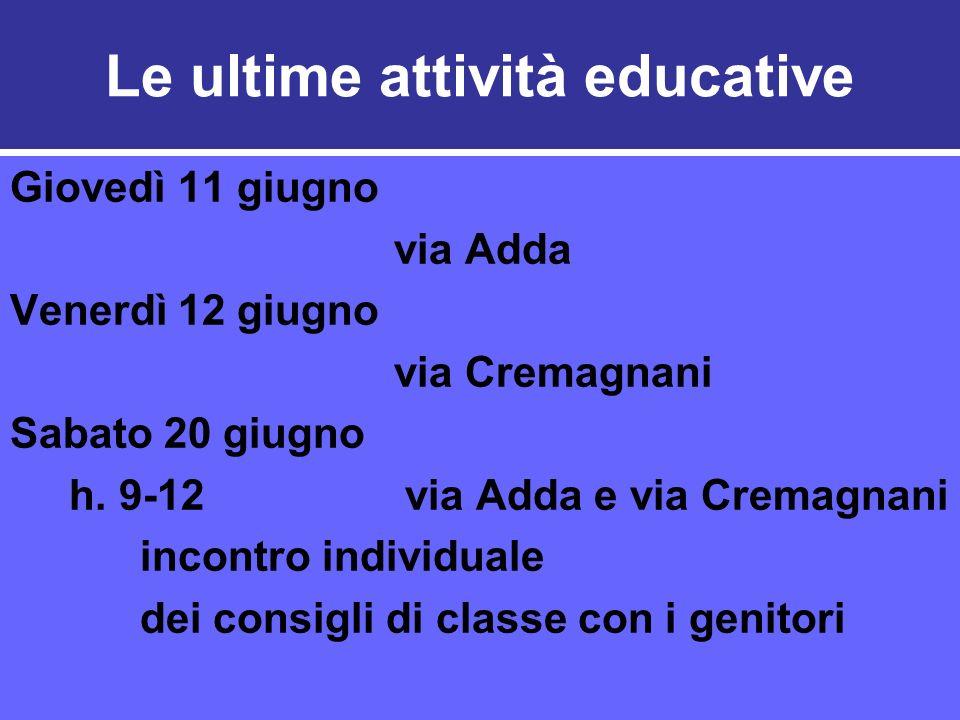 Le ultime attività educative Giovedì 11 giugno via Adda Venerdì 12 giugno via Cremagnani Sabato 20 giugno h.