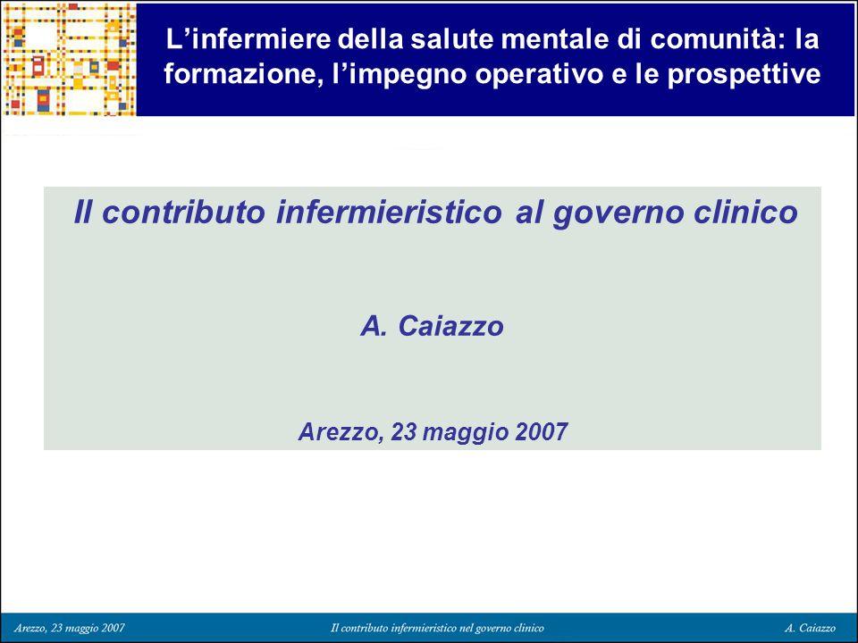 Linfermiere della salute mentale di comunità: la formazione, limpegno operativo e le prospettive Il contributo infermieristico al governo clinico A. C