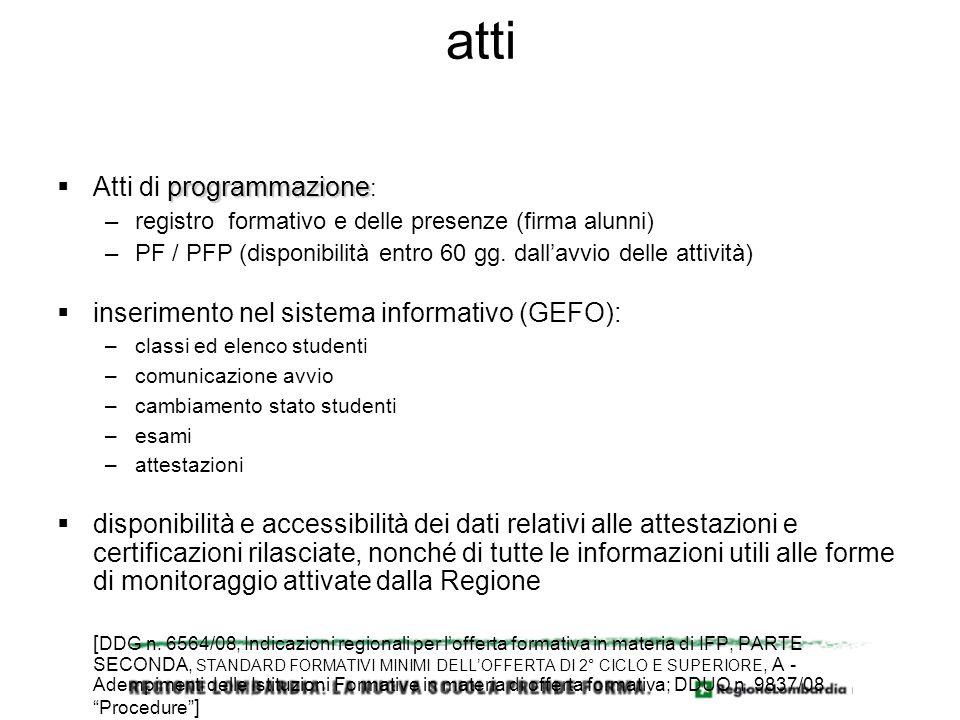 atti programmazione Atti di programmazione : –registro formativo e delle presenze (firma alunni) –PF / PFP (disponibilità entro 60 gg.