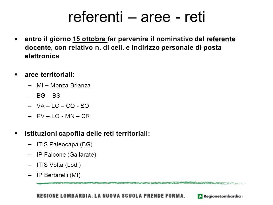 referenti – aree - reti referente docente entro il giorno 15 ottobre far pervenire il nominativo del referente docente, con relativo n.