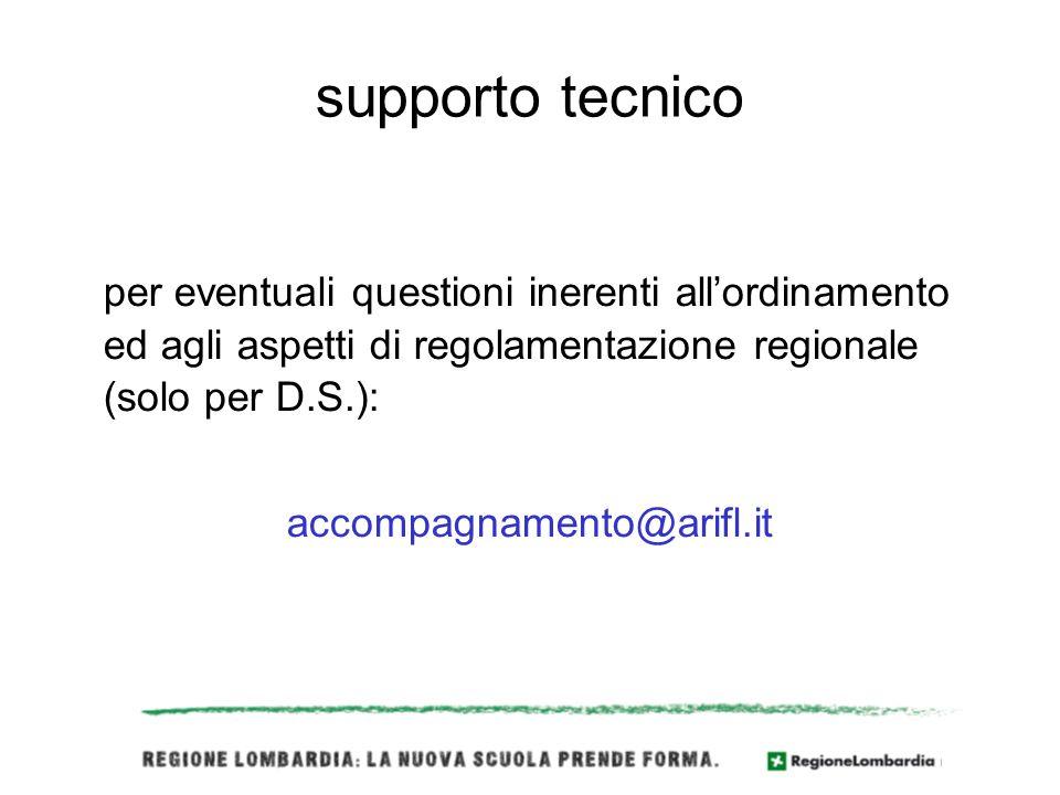supporto tecnico per eventuali questioni inerenti allordinamento ed agli aspetti di regolamentazione regionale (solo per D.S.): accompagnamento@arifl.it