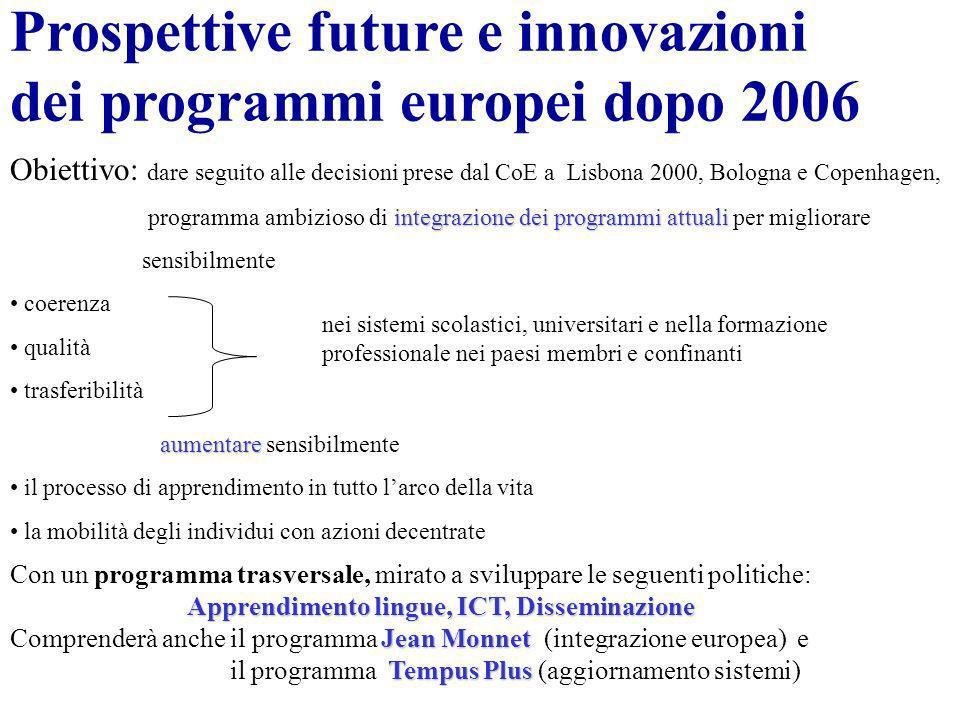 Prospettive future e innovazioni dei programmi europei dopo 2006 Obiettivo: dare seguito alle decisioni prese dal CoE a Lisbona 2000, Bologna e Copenh