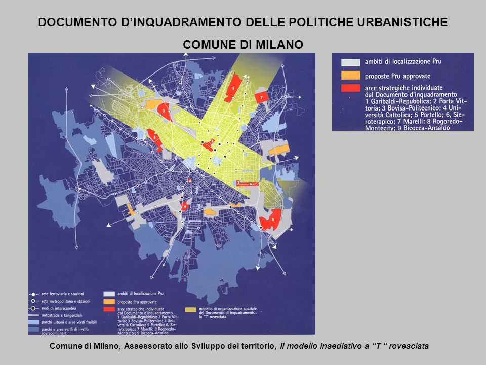 DOCUMENTO DINQUADRAMENTO DELLE POLITICHE URBANISTICHE COMUNE DI MILANO Comune di Milano, Assessorato allo Sviluppo del territorio, Il modello insediat