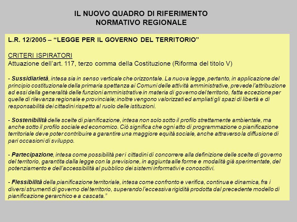IL NUOVO QUADRO DI RIFERIMENTO NORMATIVO REGIONALE L.R. 12/2005 – LEGGE PER IL GOVERNO DEL TERRITORIO CRITERI ISPIRATORI Attuazione dellart. 117, terz