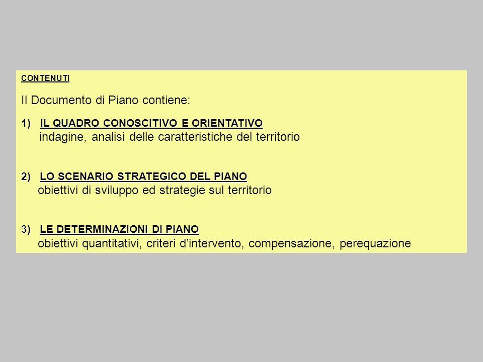CONTENUTI Il Documento di Piano contiene: 1)IL QUADRO CONOSCITIVO E ORIENTATIVO indagine, analisi delle caratteristiche del territorio 2) LO SCENARIO