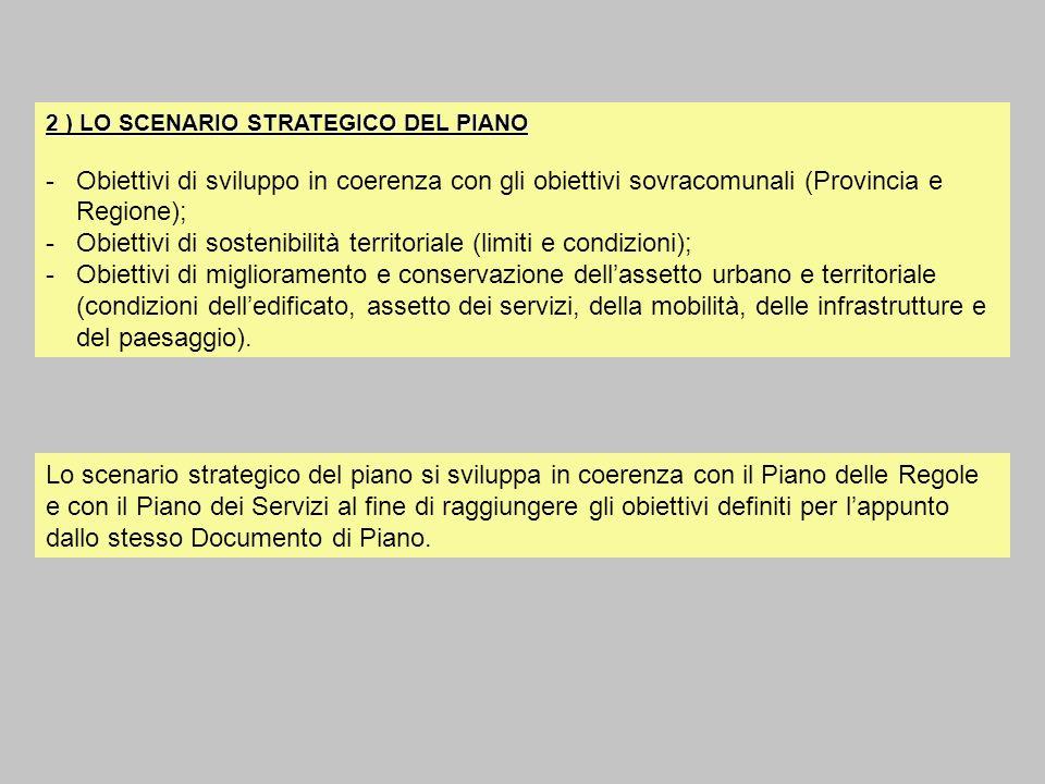 2 ) LO SCENARIO STRATEGICO DEL PIANO -Obiettivi di sviluppo in coerenza con gli obiettivi sovracomunali (Provincia e Regione); -Obiettivi di sostenibi
