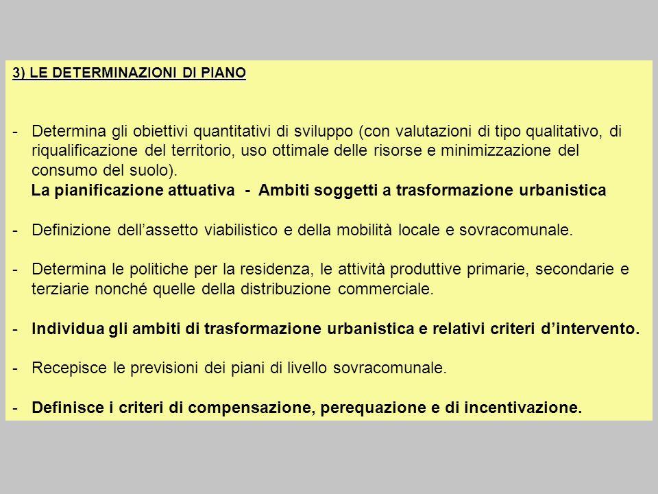 3) LE DETERMINAZIONI DI PIANO -Determina gli obiettivi quantitativi di sviluppo (con valutazioni di tipo qualitativo, di riqualificazione del territor