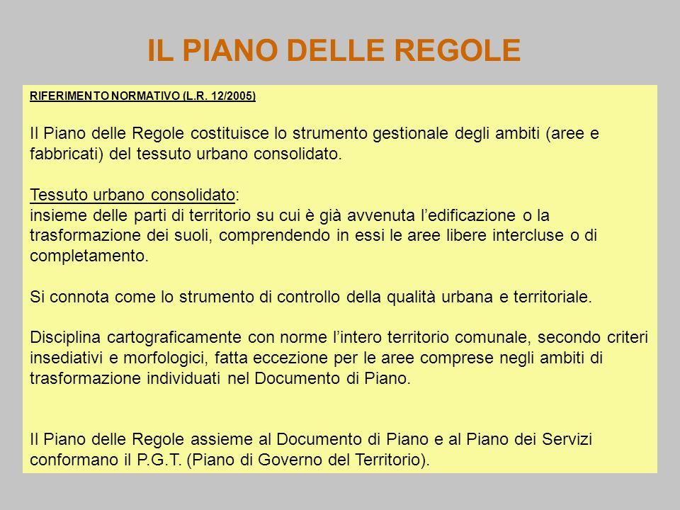 IL PIANO DELLE REGOLE RIFERIMENTO NORMATIVO (L.R. 12/2005) Il Piano delle Regole costituisce lo strumento gestionale degli ambiti (aree e fabbricati)