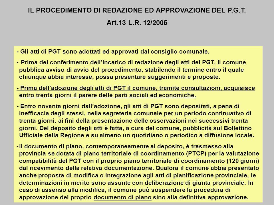 - Gli atti di PGT sono adottati ed approvati dal consiglio comunale. - Prima del conferimento dellincarico di redazione degli atti del PGT, il comune