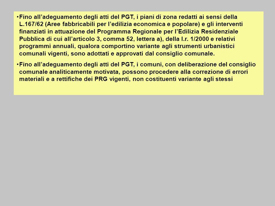 Fino alladeguamento degli atti del PGT, i piani di zona redatti ai sensi della L.167/62 (Aree fabbricabili per ledilizia economica e popolare) e gli i