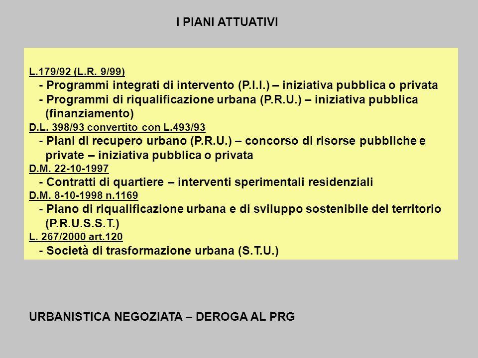 L.179/92 (L.R. 9/99) - Programmi integrati di intervento (P.I.I.) – iniziativa pubblica o privata - Programmi di riqualificazione urbana (P.R.U.) – in