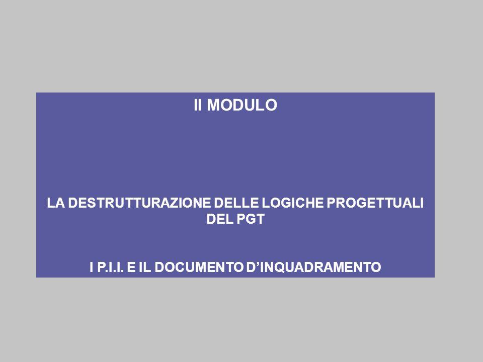 II MODULO LA DESTRUTTURAZIONE DELLE LOGICHE PROGETTUALI DEL PGT I P.I.I. E IL DOCUMENTO DINQUADRAMENTO