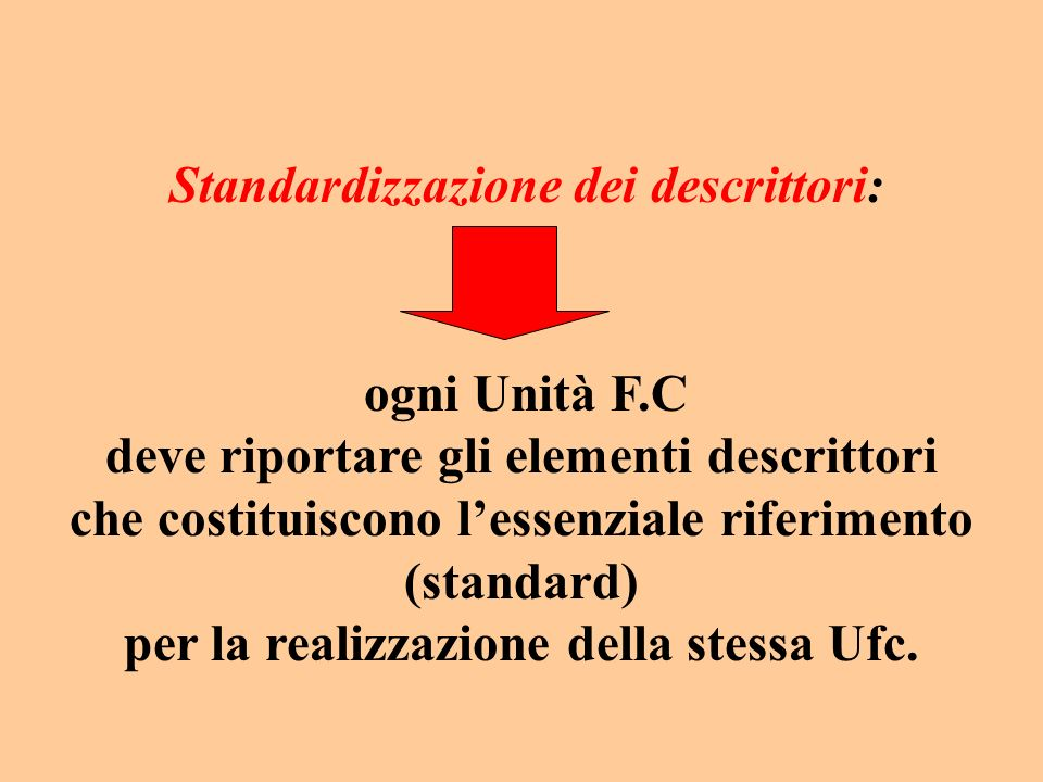 Standardizzazione dei descrittori: ogni Unità F.C deve riportare gli elementi descrittori che costituiscono lessenziale riferimento (standard) per la realizzazione della stessa Ufc.