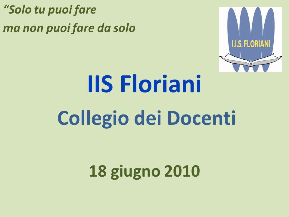 Solo tu puoi fare ma non puoi fare da solo IIS Floriani Collegio dei Docenti 18 giugno 2010