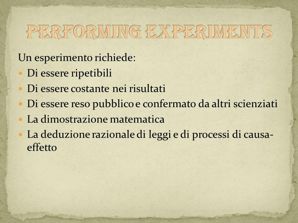 Un esperimento richiede: Di essere ripetibili Di essere costante nei risultati Di essere reso pubblico e confermato da altri scienziati La dimostrazio