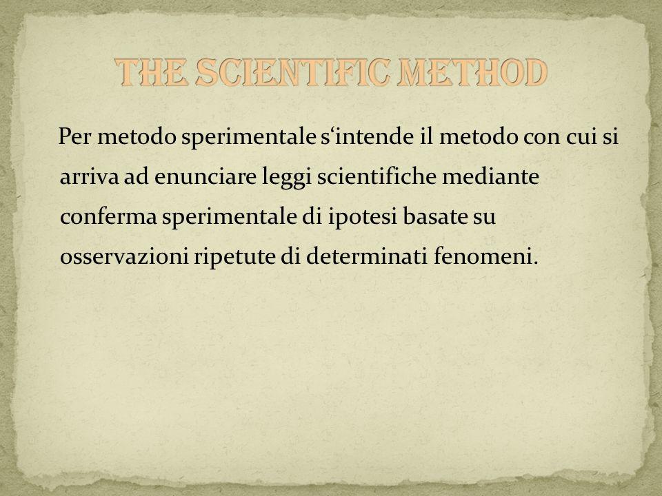 Per metodo sperimentale sintende il metodo con cui si arriva ad enunciare leggi scientifiche mediante conferma sperimentale di ipotesi basate su osser