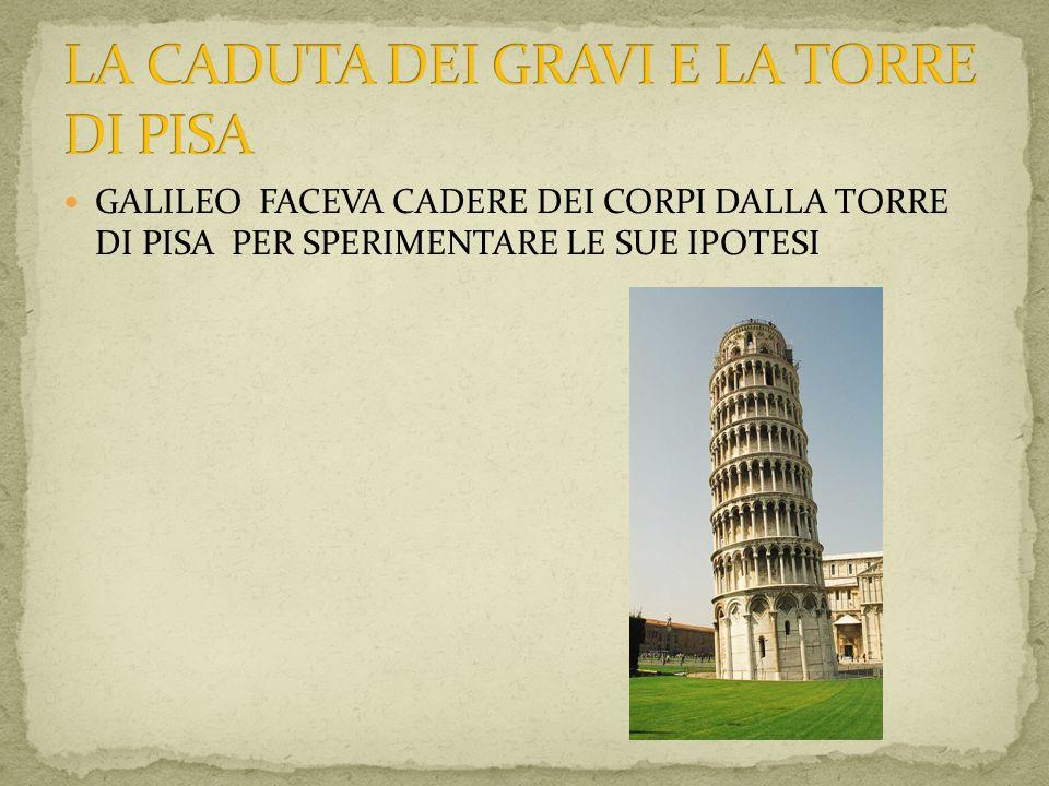 GALILEO FACEVA CADERE DEI CORPI DALLA TORRE DI PISA PER SPERIMENTARE LE SUE IPOTESI