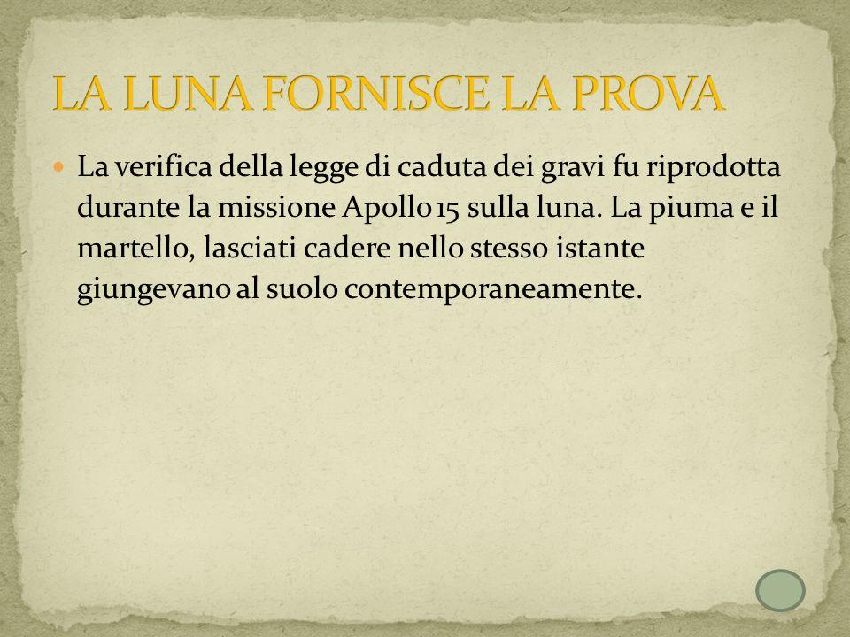 La verifica della legge di caduta dei gravi fu riprodotta durante la missione Apollo 15 sulla luna. La piuma e il martello, lasciati cadere nello stes