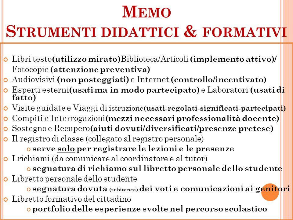 M EMO S TRUMENTI DIDATTICI & FORMATIVI Libri testo (utilizzo mirato) Biblioteca/Articoli (implemento attivo)/ Fotocopie (attenzione preventiva) Audiov