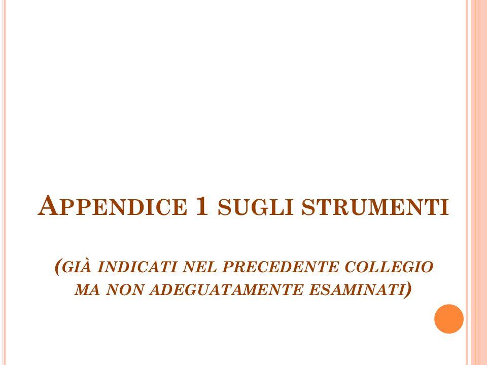 A PPENDICE 1 SUGLI STRUMENTI ( GIÀ INDICATI NEL PRECEDENTE COLLEGIO MA NON ADEGUATAMENTE ESAMINATI )
