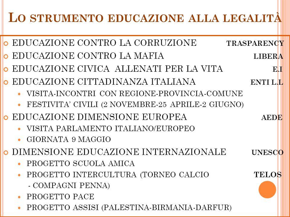 L O STRUMENTO EDUCAZIONE ALLA LEGALITÀ EDUCAZIONE CONTRO LA CORRUZIONE TRASPARENCY EDUCAZIONE CONTRO LA MAFIA LIBERA EDUCAZIONE CIVICA ALLENATI PER LA