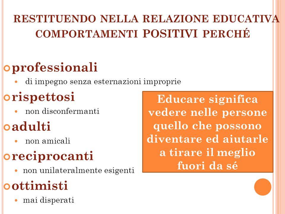 RESTITUENDO NELLA RELAZIONE EDUCATIVA COMPORTAMENTI POSITIVI PERCHÉ professionali di impegno senza esternazioni improprie rispettosi non disconfermant