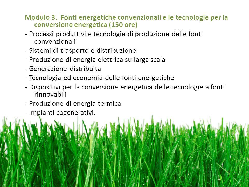 Modulo 3. Fonti energetiche convenzionali e le tecnologie per la conversione energetica (150 ore) - Processi produttivi e tecnologie di produzione del