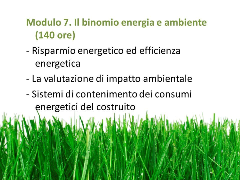 Modulo 7. Il binomio energia e ambiente (140 ore) - Risparmio energetico ed efficienza energetica - La valutazione di impatto ambientale - Sistemi di