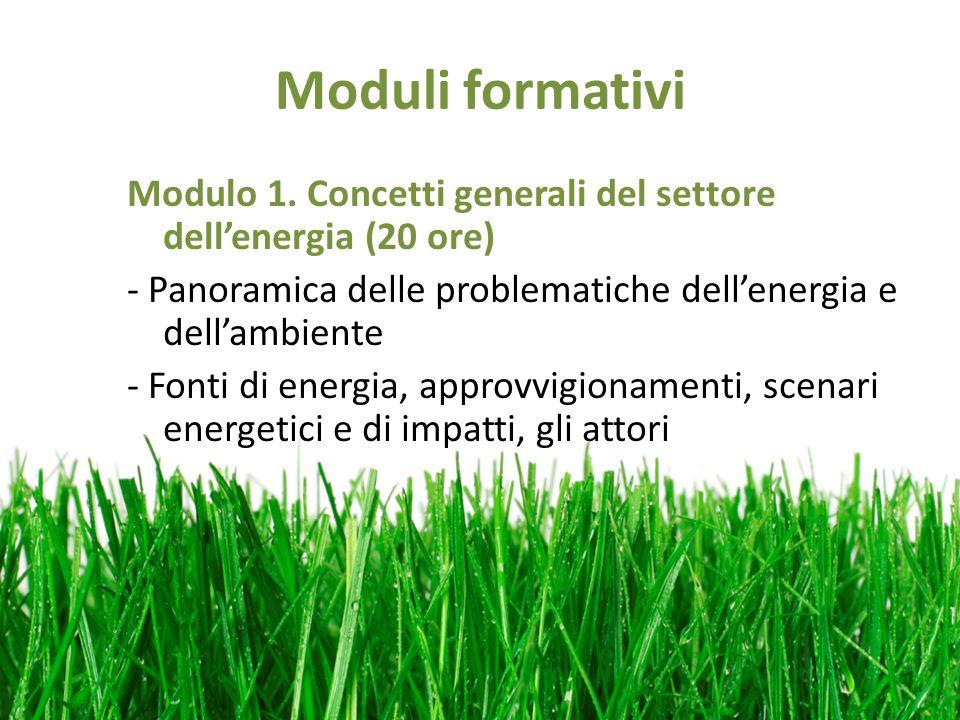 Moduli formativi Modulo 1. Concetti generali del settore dellenergia (20 ore) - Panoramica delle problematiche dellenergia e dellambiente - Fonti di e