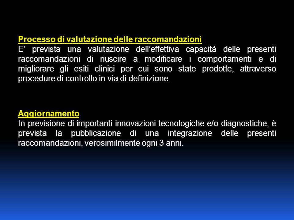 Processo di valutazione delle raccomandazioni E prevista una valutazione delleffettiva capacità delle presenti raccomandazioni di riuscire a modificare i comportamenti e di migliorare gli esiti clinici per cui sono state prodotte, attraverso procedure di controllo in via di definizione.