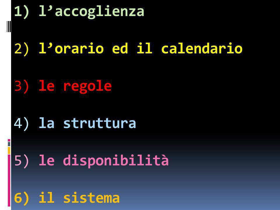 1) laccoglienza 2) lorario ed il calendario 3) le regole 4) la struttura 5) le disponibilità 6) il sistema