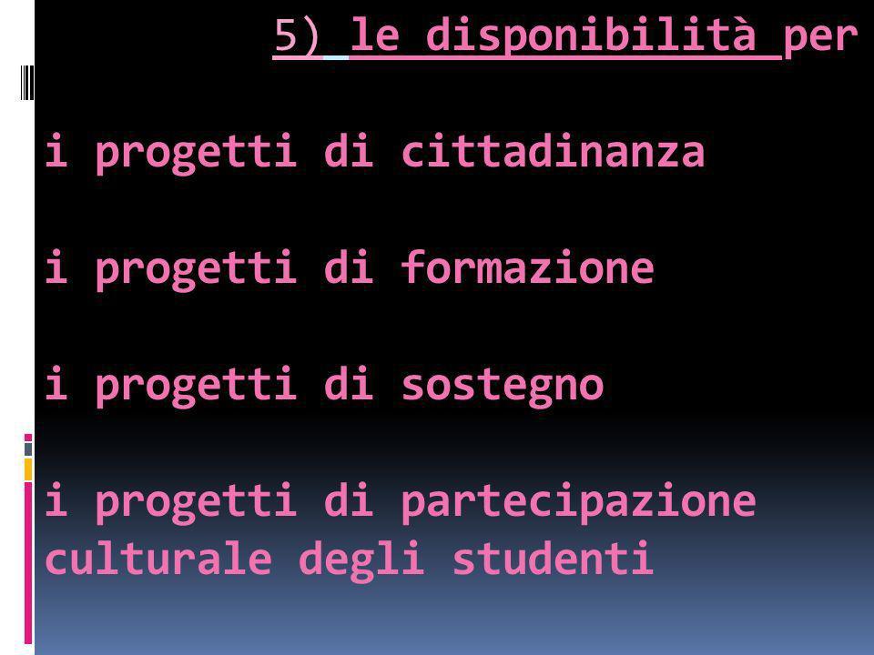 5) le disponibilità per i progetti di cittadinanza i progetti di formazione i progetti di sostegno i progetti di partecipazione culturale degli studen