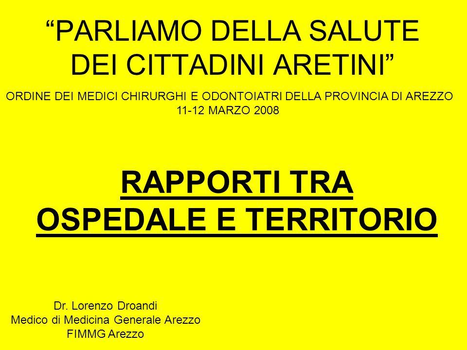 PARLIAMO DELLA SALUTE DEI CITTADINI ARETINI ORDINE DEI MEDICI CHIRURGHI E ODONTOIATRI DELLA PROVINCIA DI AREZZO 11-12 MARZO 2008 RAPPORTI TRA OSPEDALE E TERRITORIO Dr.