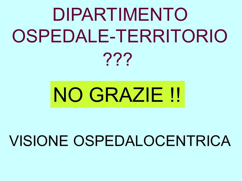 DIPARTIMENTO OSPEDALE-TERRITORIO ??? NO GRAZIE !! VISIONE OSPEDALOCENTRICA