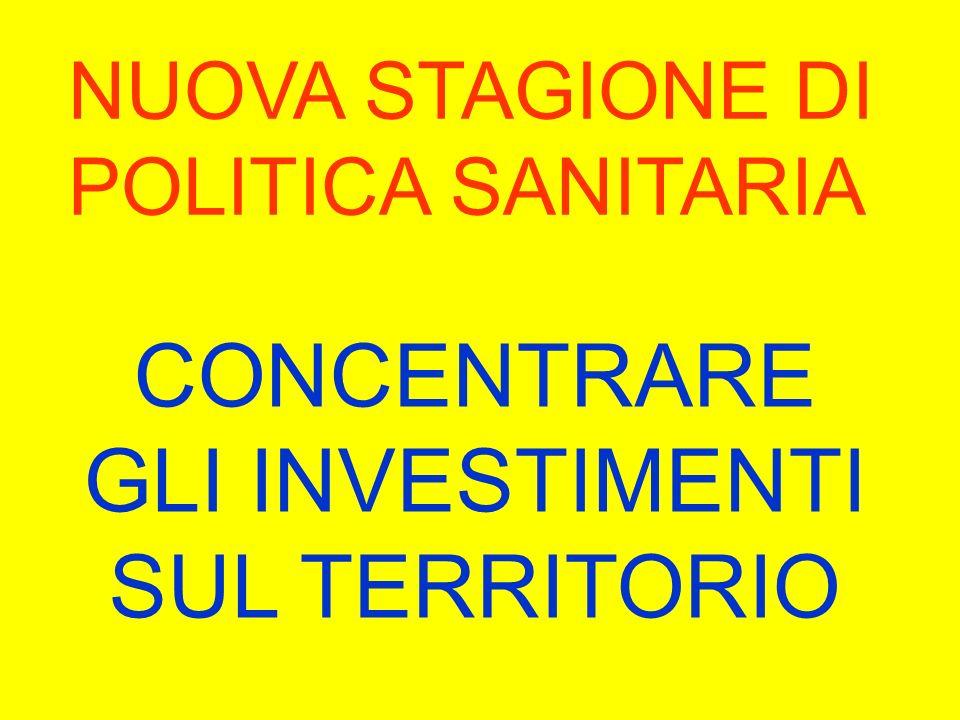NUOVA STAGIONE DI POLITICA SANITARIA CONCENTRARE GLI INVESTIMENTI SUL TERRITORIO