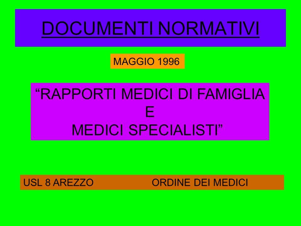 DOCUMENTI NORMATIVI MAGGIO 1996 RAPPORTI MEDICI DI FAMIGLIA E MEDICI SPECIALISTI USL 8 AREZZO ORDINE DEI MEDICI