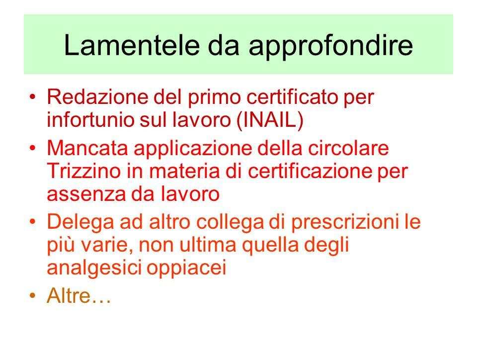 Lamentele da approfondire Redazione del primo certificato per infortunio sul lavoro (INAIL) Mancata applicazione della circolare Trizzino in materia d
