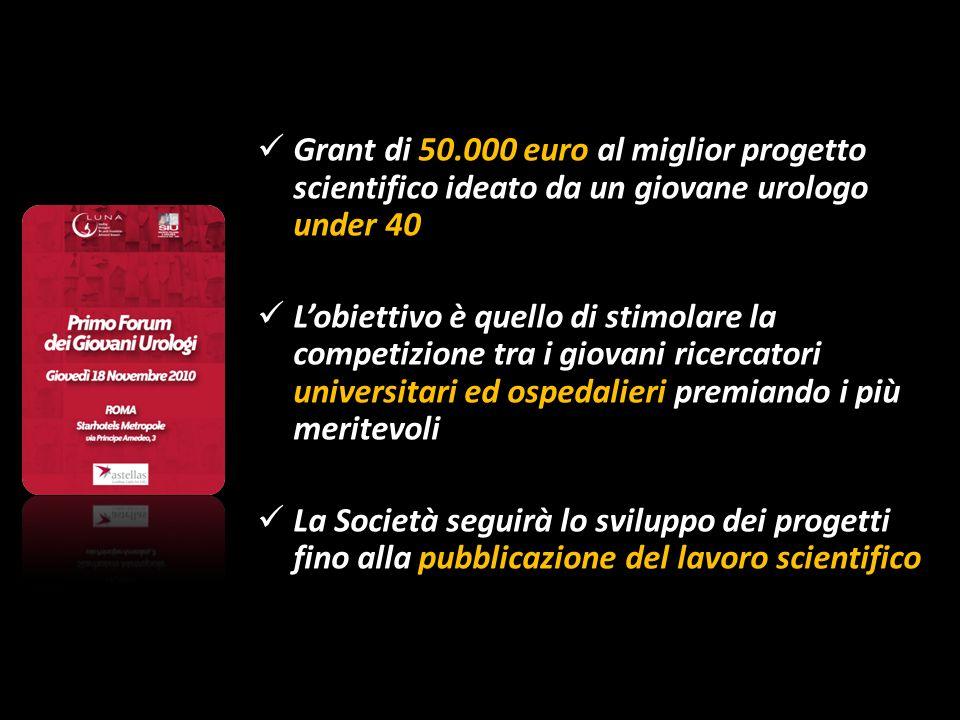 Grant di 50.000 euro al miglior progetto scientifico ideato da un giovane urologo under 40 Lobiettivo è quello di stimolare la competizione tra i giov