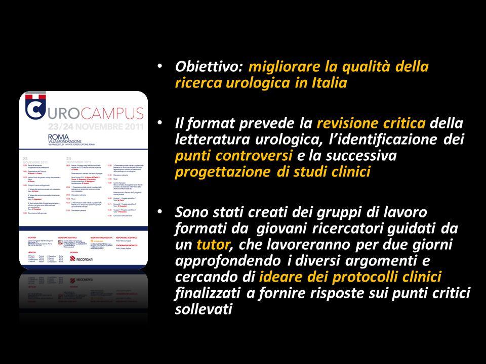 Obiettivo: migliorare la qualità della ricerca urologica in Italia Il format prevede la revisione critica della letteratura urologica, lidentificazion