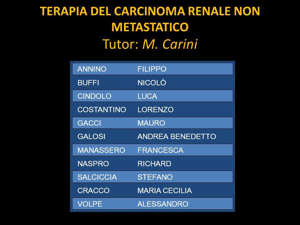 TERAPIA DEL CARCINOMA RENALE NON METASTATICO Tutor: M. Carini ANNINOFILIPPO BUFFINICOLÒ CINDOLOLUCA COSTANTINOLORENZO GACCIMAURO GALOSIANDREA BENEDETT