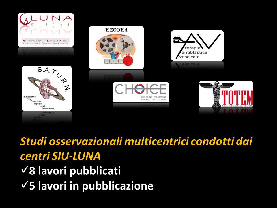 Studi osservazionali multicentrici condotti dai centri SIU-LUNA 8 lavori pubblicati 5 lavori in pubblicazione