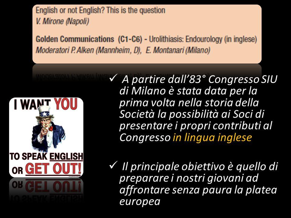 A partire dall83° Congresso SIU di Milano è stata data per la prima volta nella storia della Società la possibilità ai Soci di presentare i propri con