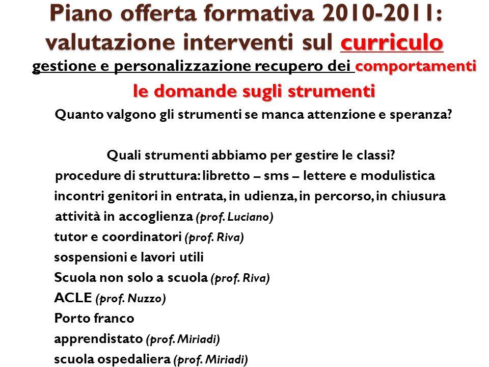 Piano offerta formativa 2010-2011: valutazione interventi sul curriculo apprendimenti recupero e potenziamento degli apprendimentimotivazioni Associazione genitori (proff.