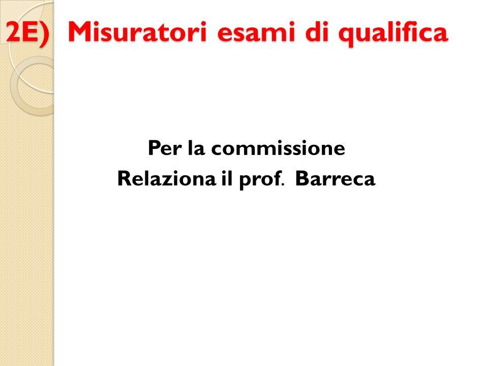 2E) Misuratori esami di qualifica Per la commissione Relaziona il prof. Barreca