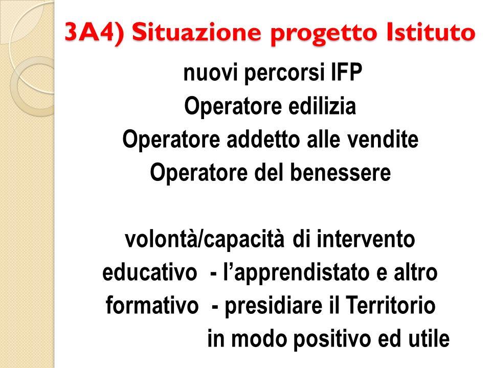 3A4) Situazione progetto Istituto nuovi percorsi IFP Operatore edilizia Operatore addetto alle vendite Operatore del benessere volontà/capacità di intervento educativo - lapprendistato e altro formativo - presidiare il Territorio in modo positivo ed utile