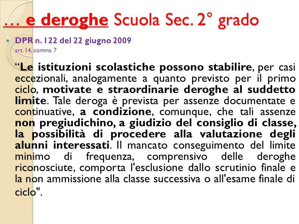Le deroghe art.1. definizione.