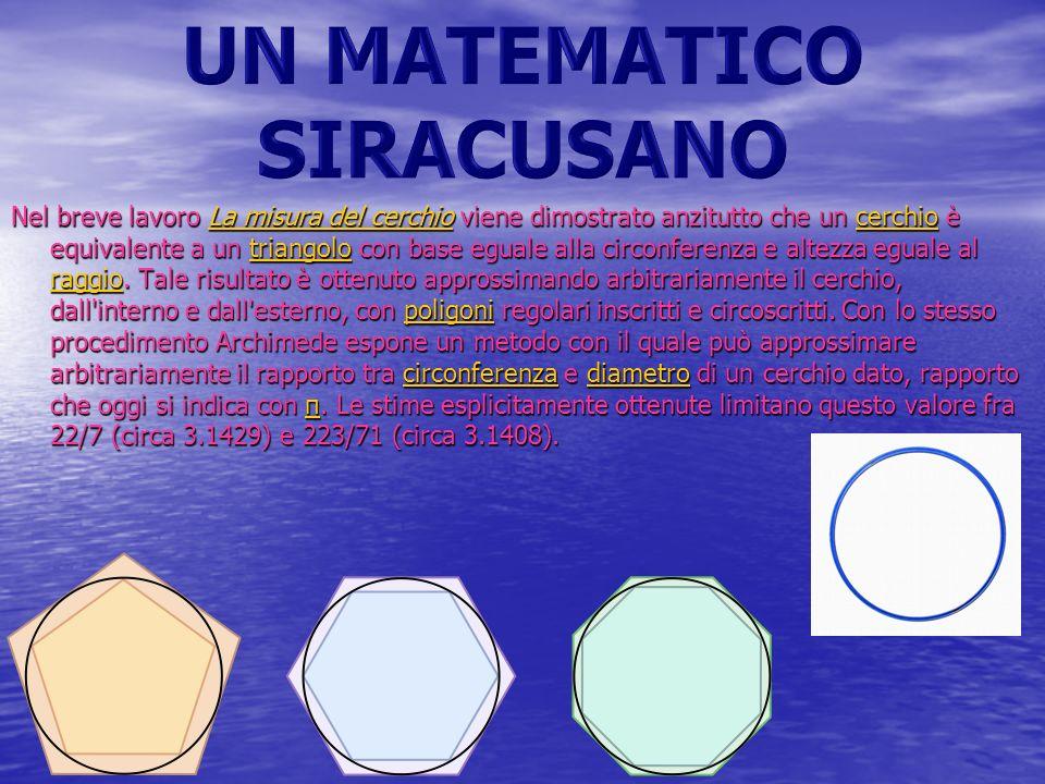 Nel breve lavoro La misura del cerchio viene dimostrato anzitutto che un cerchio è equivalente a un triangolo con base eguale alla circonferenza e alt