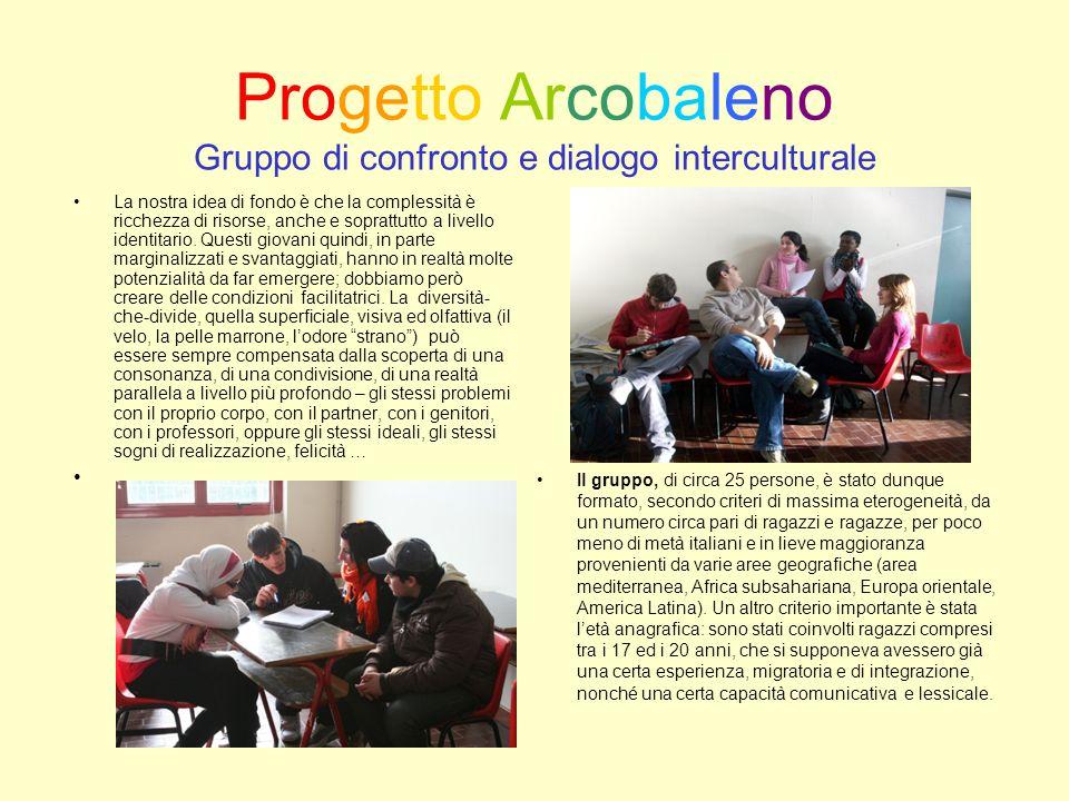 Progetto Arcobaleno Gruppo di confronto e dialogo interculturale La nostra idea di fondo è che la complessità è ricchezza di risorse, anche e soprattutto a livello identitario.